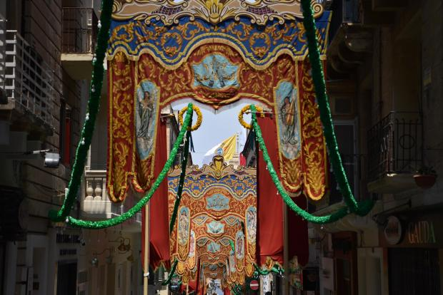 Feast Banners set up for the feast of our Lady of Mount Carmel in Valletta on July 16. Photo: Mark Zammit Cordina