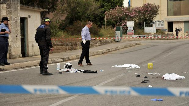 The scene of Tuesday's hit-and-run which left police officer Simon Schembri with an amputated arm. Photo: Chris Sant Fournier.