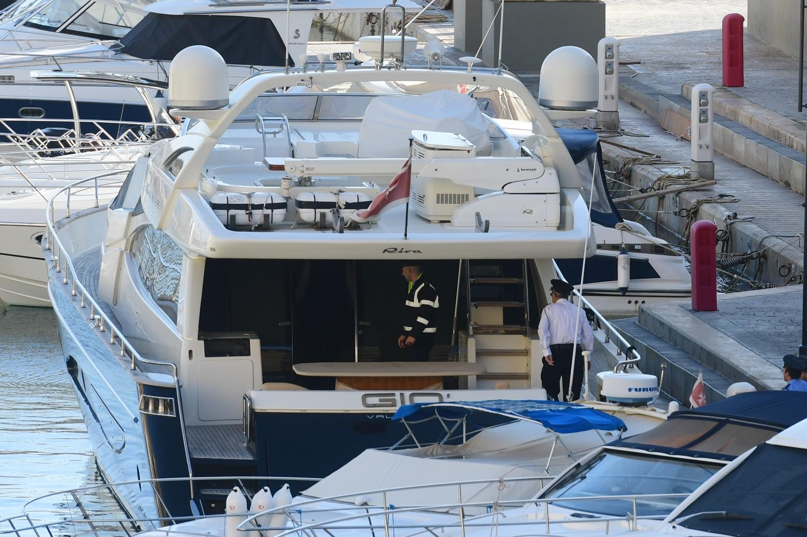 Yorgen Fenech's luxury yacht at Portomaso after it was intercepted by the AFM.