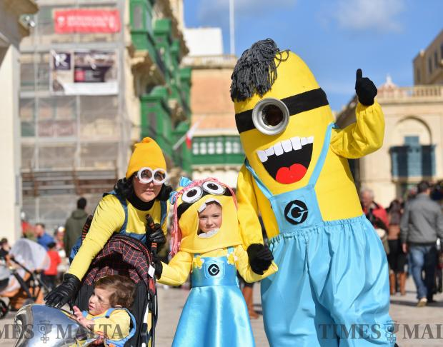 A family all dressed as minions during carnival in Valletta on February 11. Photo: Mark Zammit Cordina