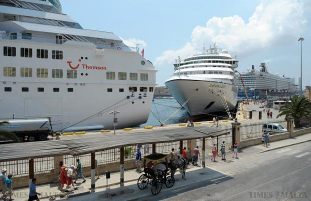 A busy day in port as three cruise liners are berthed alongside one another in Valletta on July 5. Photo: Matthew Mirabelli