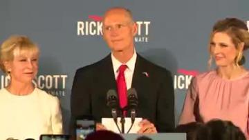 Forida Republican Governor Rick Scott declares US Senate victory.