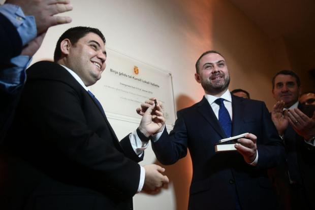 Valletta mayor Aleixei Dingli and Justice Minister Owen Bonnici inaugurate the new council building. Photo: Jonathan Borg