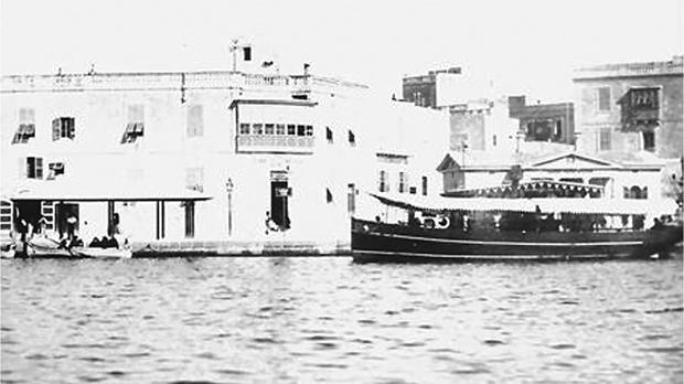 Melita or Ogygia at the landing stage. The Duke of Edinburgh Hotel and Tower Road are in the background.