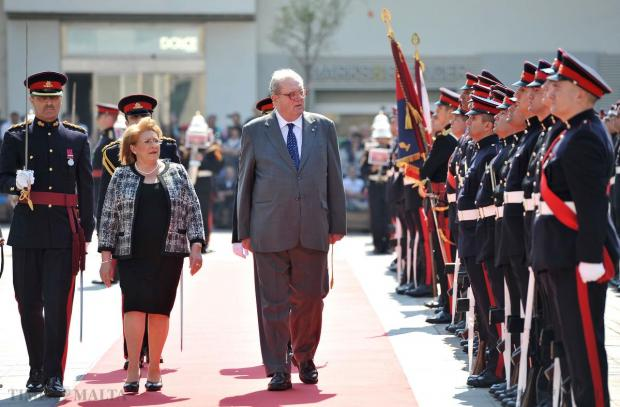 President Marie-Louise Coleiro Preca and Fra Matthew Festing, Grand Master of the Sovereign Military Hospitaller Order of St John, inspect a guard of honour during a welcome ceremony in St George's Square in Valletta on April 15. Photo: Chris Sant Fournier