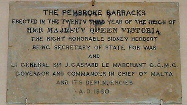 A plaque commemorating the inauguration of Pembroke Barracks in 1860. Photo: Denis Darmanin