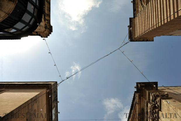 Wire seems to hold buildings together in Republic Street Valletta on May 2. Photo: Chris Sant Fournier