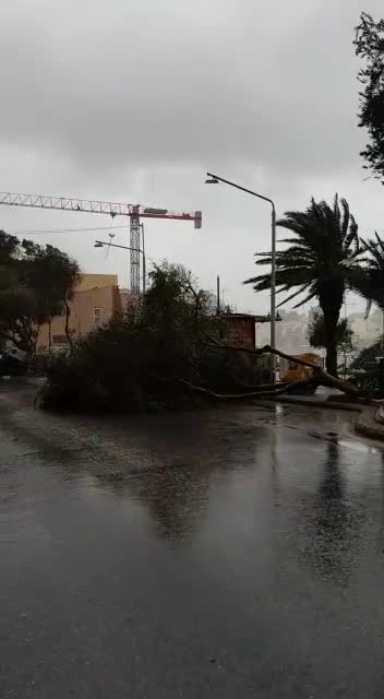 Destruction along the Sliema promenade.
