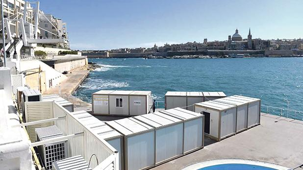 The Turkish containers on the water's edge in Tigné, Sliema.