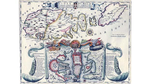 A 17th-century map showing the Maltese islands in the Ionian Sea, off Greece. Photo: Private collection