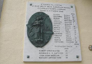 The memorial plaque with the names of the victims.