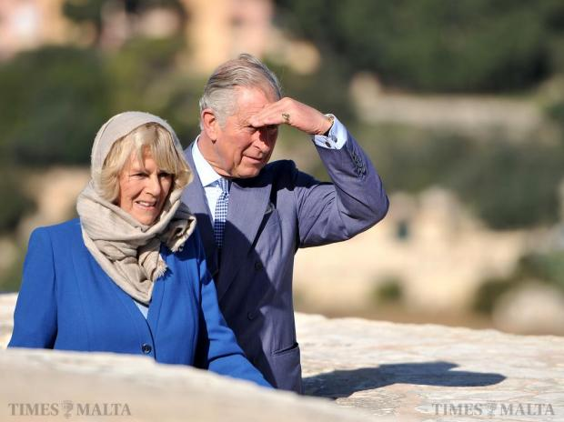 Prince Charles and Camilla, the Duchess of Cornwall, enjoy the view from the Mdina bastions on November 28. Photo: Chris Sant Fournier
