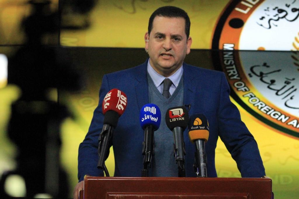 Libya's parallel eastern government foreign minister, Abdulhadi Lahweej, addresses the media in the eastern Libyan city of Benghazi. Photo: AFP