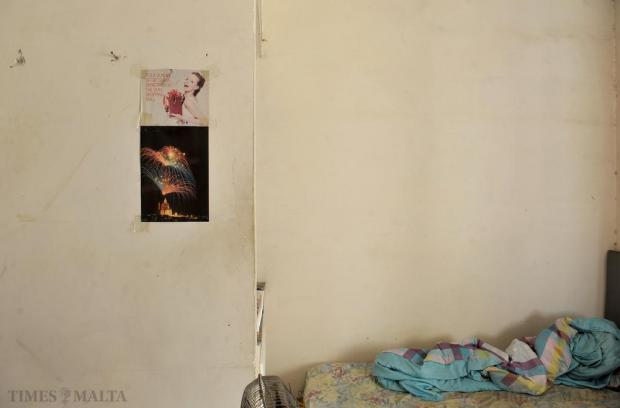A detail from the bedroom of Chinese national Xiao Guan, who complained about beatings, underpayment and living in poor conditions in a Marsa apartment, on October 15. Photo: Chris Sant Fournier