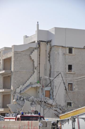 The collapsed building in Mellieħa, Photo: Keith Micallef