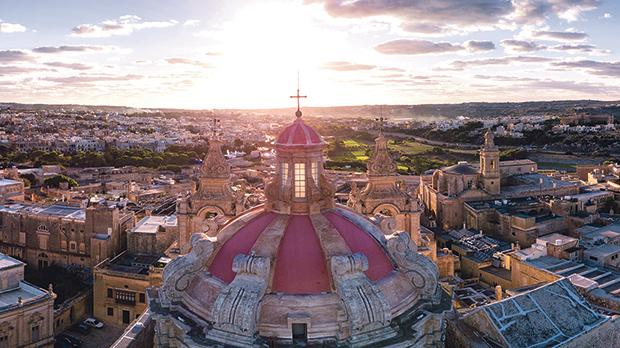 Sunset over Malta, as seen from above St Paul's cathedral, Mdina.