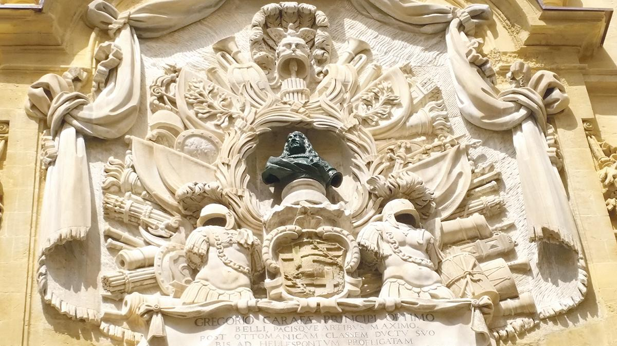 Carafa façade on the Auberge d'Italie in Valletta(above): thanks to the prosperousness of the Order, Malta became a mostra, a permanent exhibition of Baroque art apogée: architecture, sculpture, painting, ornamentation - Jean Carpentier and François Lebrun