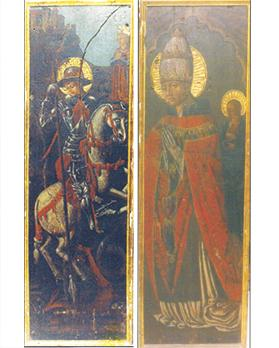 St George, side-panel from the Lamentation for Christ retable. Right: St Gregory, side-panel from the Lamentation for Christ retable.