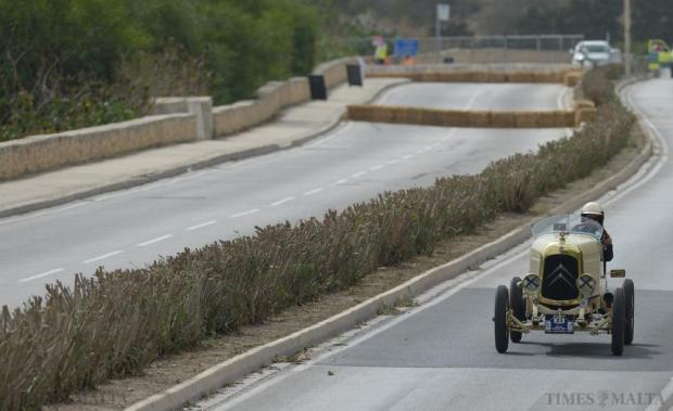 One of the several pre-war cars participating in the Mdina Grand Prix Classic Car event negotiates the challenging circuit around Mdina and Mtarfa on October 10. Photo: Matthew Mirabelli