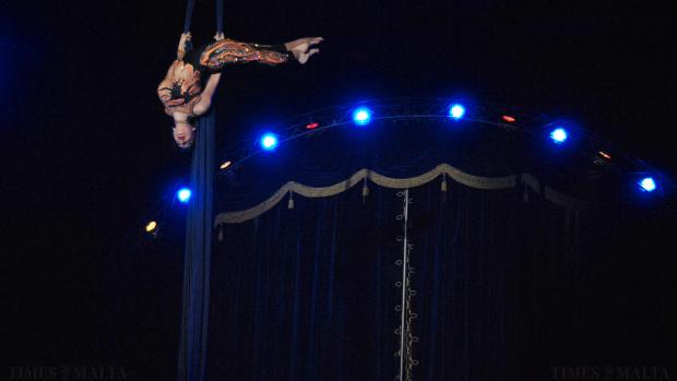 A trapeze artist from the Circo Viviana Orfei displays her skills during a performance at Manoel Island, Gzira on January 4. Photo Mark Zammit Cordina