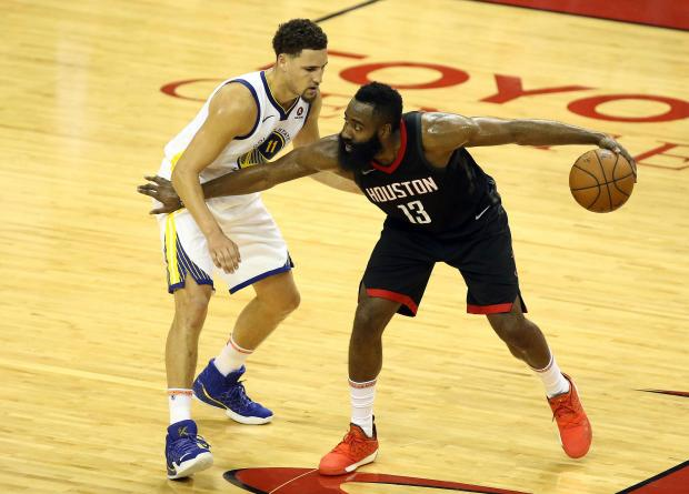 Houston Rockets guard James Harden (13) controls the ball against Golden State Warriors guard Klay Thompson (11) during the first half in game two of the Western conference finals of the 2018 NBA Playoffs at Toyota Center. Photo Credit: Troy Taormina-USA TODAY Sports