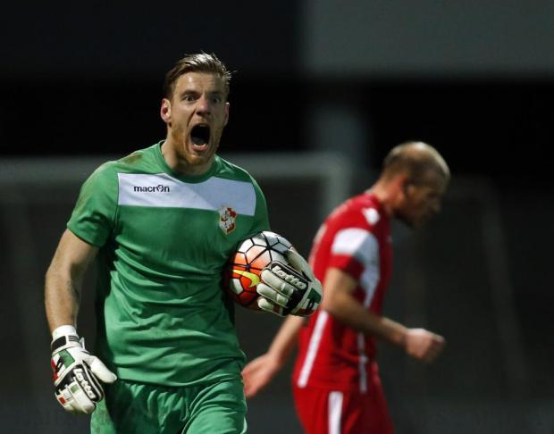 Naxxar Lions goalkeeper Alberto Gallinetta reacts during the Premier League football match against Valletta at the Hibs Stadium in Corradino on March 1. Photo: Darrin Zammit Lupi