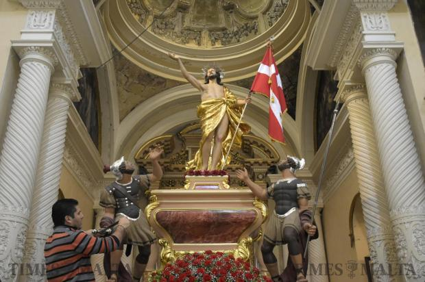 Final preparations were under way on April 15 at the Church of the Jesuits in Valletta, for Easter Sunday's procession in Valletta. Photo: Mark Zammit Cordina