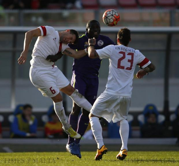 St Andrew's Victor Oseghale (centre) is challenged by Valletta's Juan Cruz Gill (left) and Claudio Pani during their Premier League football match at the National Stadium in Ta' Qali on February 21. Photo: Darrin Zammit Lupi