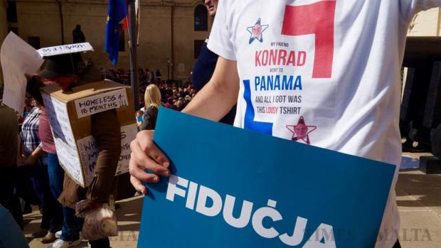 Satirical messages made their way onto printed t-shirts during the national protest against corruption in Valletta on March 6. Photo: Steve Zammit Lupi