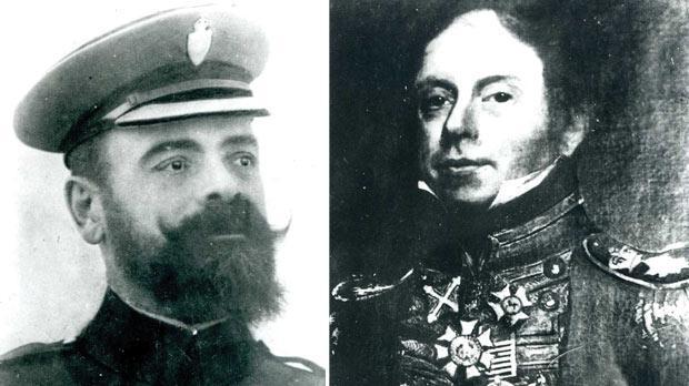 Tancred Curmi. Right: The first police commandant Francesco Rivarola.