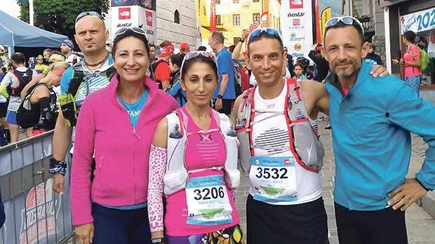 Left to right: Sue Mercieca, Nadia Portelli, Carmel Vella and Charlie Cilia at Cortina d'Ampezzo for the Ultra Trail challenge.