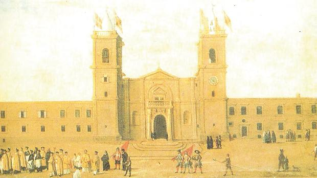 An anonymous painting depicting the façade of St John's during the magistracy of Grand Master Lascaris (1636-57).