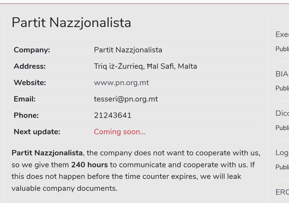 Screenshot of avaddon ransomeware website which carries sensitive PN documents on Thursday