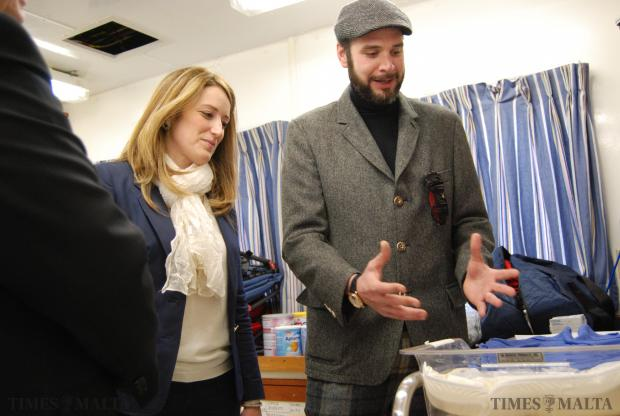 Moas founder Chris Catrambone (right) shows MEP Roberta Metsola an infant bed in the clinic aboard the Phoenix on January 16. Photo: Mark Zammit Cordina