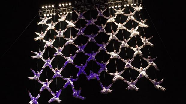 La Fura dels Baus create a 'human net' during a performance in Bucharest in 2012. Photo: Shutterstock