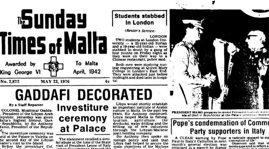 The Sunday Times report on May 23, 1976 of Muammar Gaddafi's decoration.