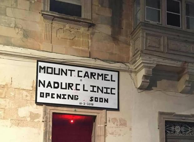 The Mount Carmel 'joke' was extended to the facade of a building.
