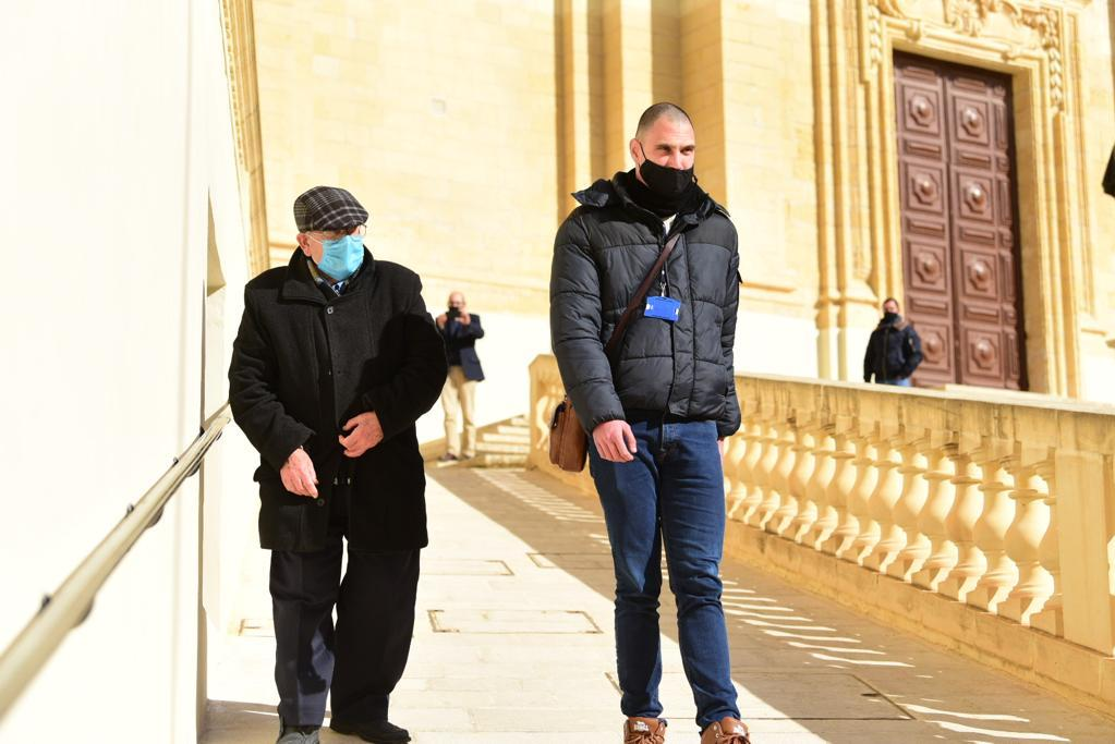 Joseph Sultana, left, leaving court. Photo: Mark Zammit Cordina