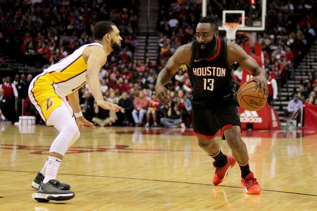 Houston Rockets guard James Harden (13) drives to the basket while Los Angeles Lakers guard Tyler Ennis (10) defends during the second quarter at Toyota Center. Photo: Erik Williams-USA TODAY Sports