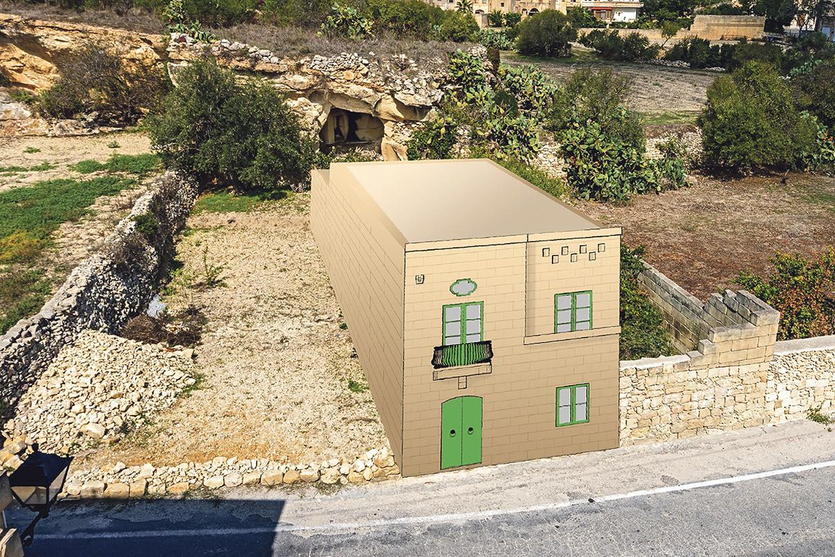 A photo montage, created byDaniel Cilia, a member of the Wirt Għawdex which opposes the plans, shows the planned house right in front of the catacombs (top).