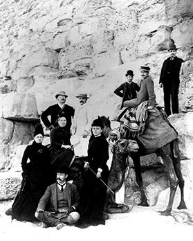 The Grenfells at the pyramids. Lady Grenfell stands by the camel's head. Photo: John Gibbons Studios