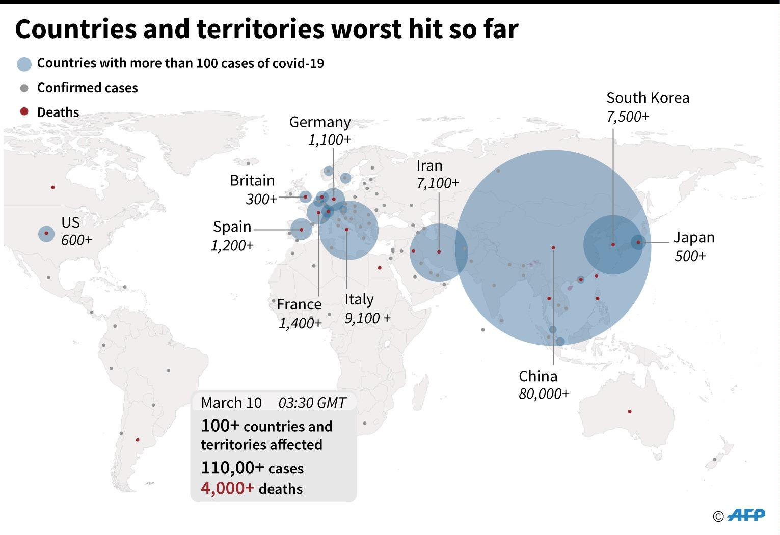 These are the countries that have been worse hit. Graphic: AFP