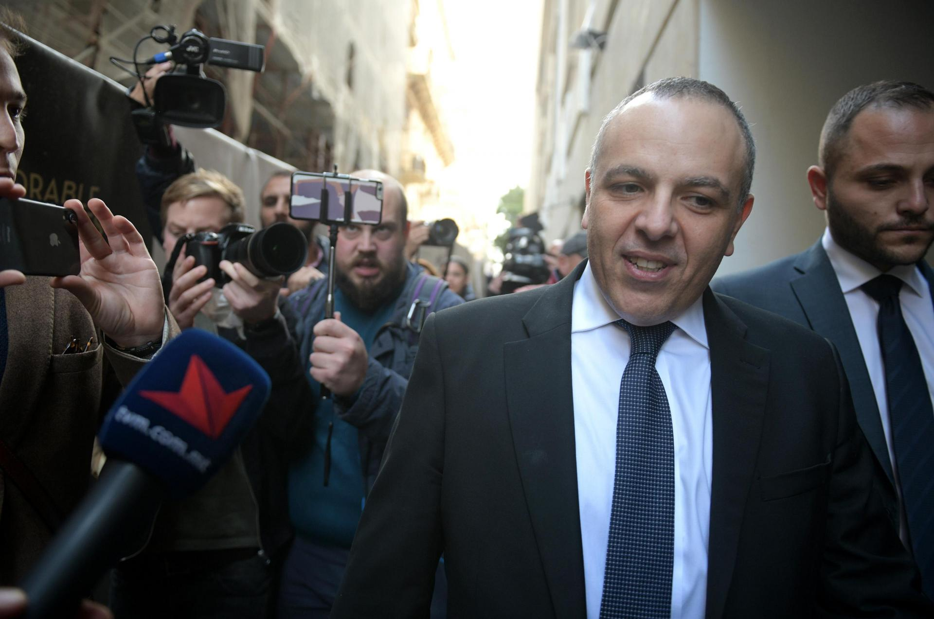 Keith Schembri leaving court on Wednesday.