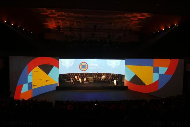 Malta's Prime Minister Joseph Muscat (right) addresses the opening ceremony of the Commonwealth Heads of Government Meeting (CHOGM) in Valletta on November 27. Photo: Darrin Zammit Lupi
