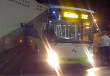 No one injured as bus crashes into hotel wall