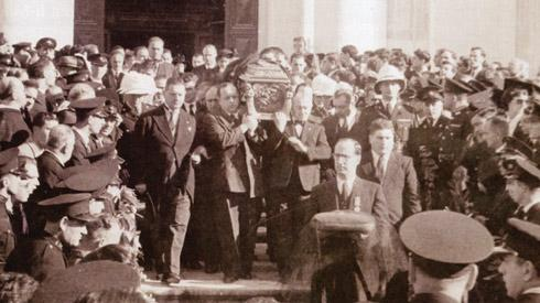 The funeral of Nerik Mizzi leaving St John's Co-Cathedral, Valletta.