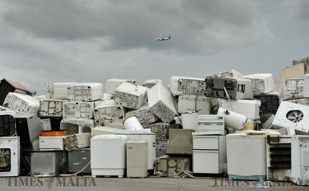 Scrapped white goods are piled on top of each other at the Mriehel Civic Amenity site on December 20. Photo: Chris Sant Fournier