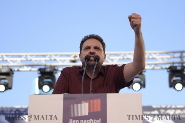 Democratic Party candidate Michael Briguglio addresses the crowd at a mass meeting in Zabbar on May 21. Photo: Mark Zammit Cordina