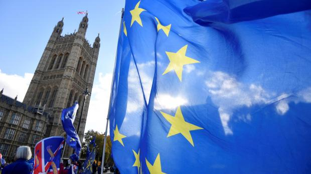 Anti-Brexit demonstrators wave flags outside the Houses of Parliament in London. File photo: Reuters/Toby Melville.