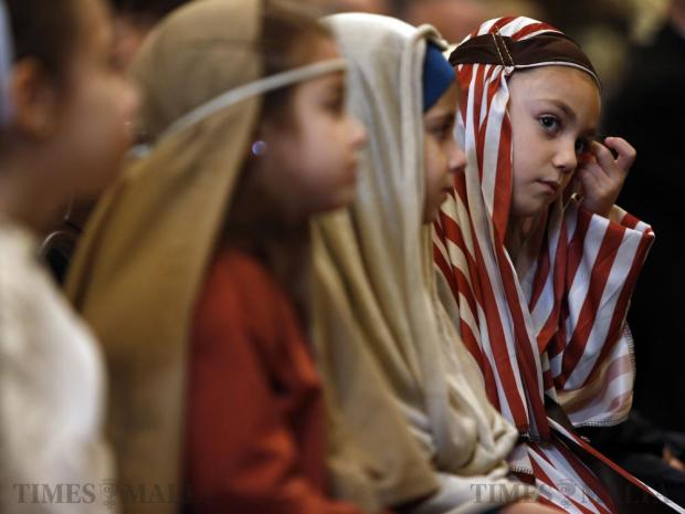 Children in Nativity play costumes attend a Mass for schoolchildren as part of the Milied Flimkien campaign in aid of the Community Chest Fund at St John's Co-Cathedral in Valletta on December 6. Photo: Darrin Zammit Lupi